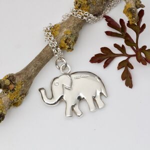 Lucky Indian Elephant Necklace, Trunk Up