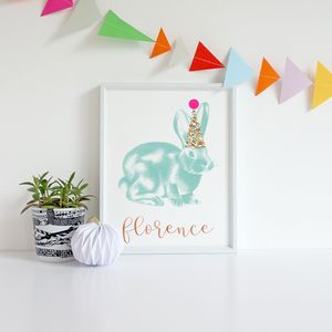 Personalised Illustrated Rabbit Print