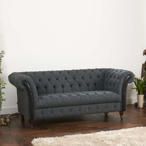 Harris Tweed Or Vintage Leather Chesterfield Sofa - furniture