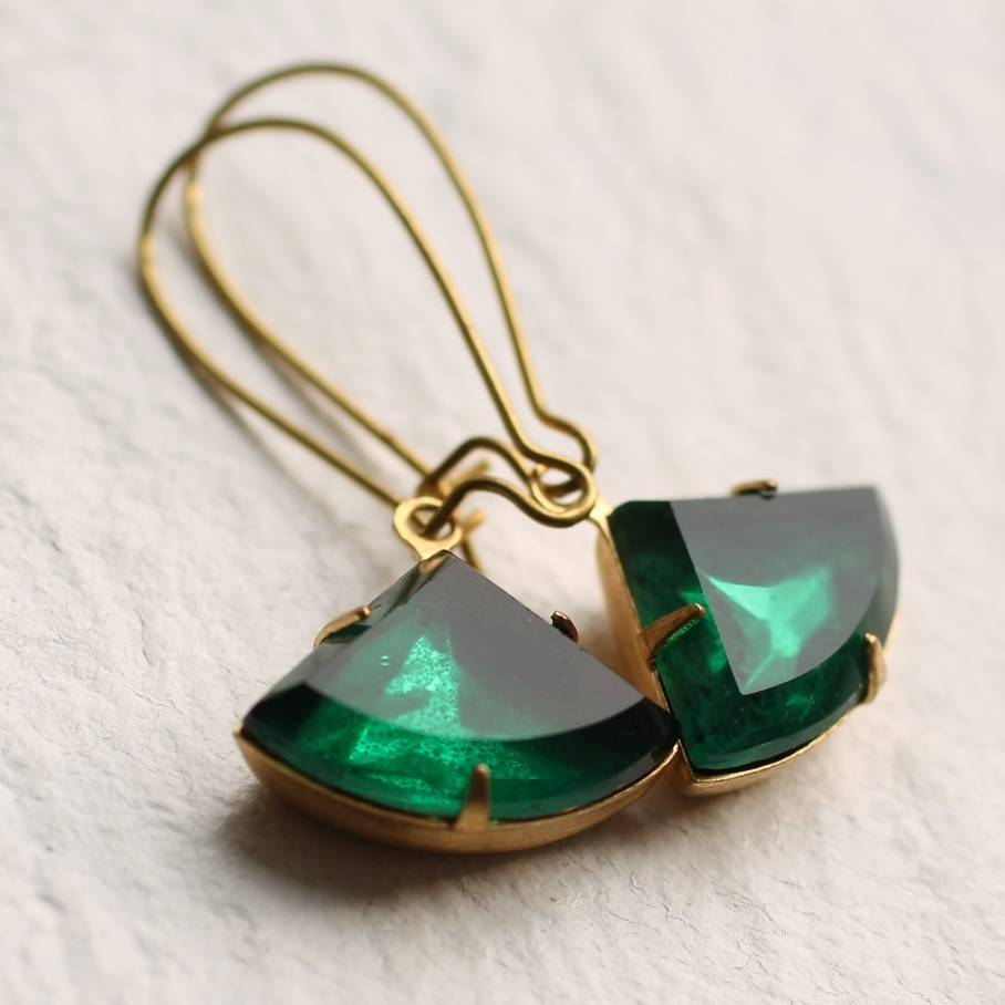 Art Deco Emerald Earrings by Silk Purse, Sow's Ear
