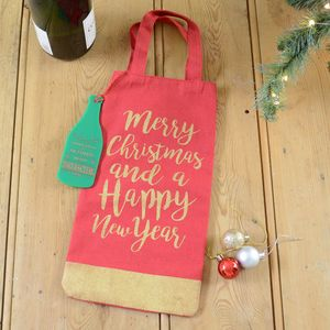 Merry Christmas Personalised Bottle Gift Bag And Tag