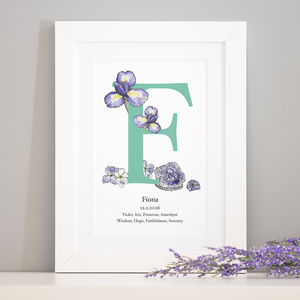 Personalised Birth Stone And Birth Flower Art - children's room
