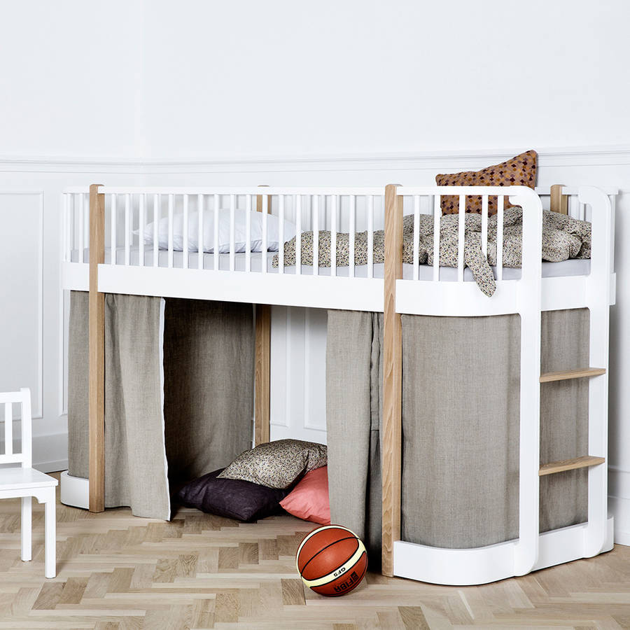 Children S Luxury Low Loft Bed In White By Cuckooland