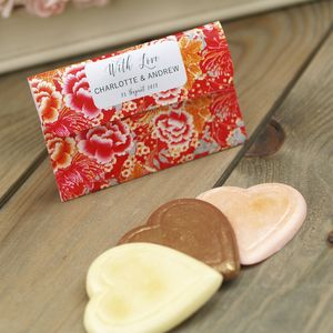 Floral Pouches Chocolate Wedding Favours