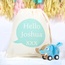Wooden Blue Elephant Toy With Personalised Bag