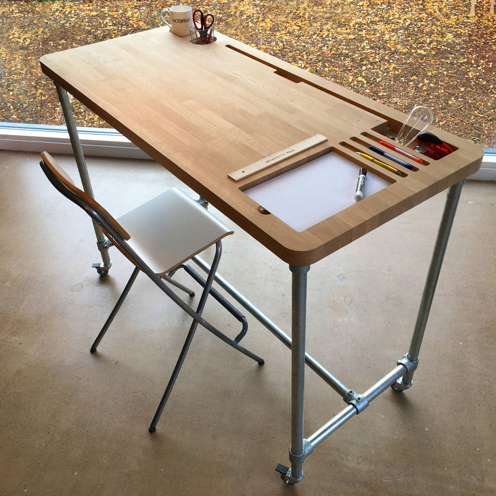 Oak Desk With Custom Personalised Storage Pockets Desks