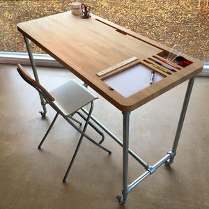 Oak Desk With Custom Personalised Storage Pockets - desks
