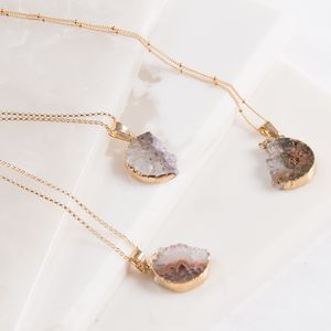 Gold Amethyst Druzy Half Moon Necklace