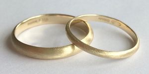 Wedding Band Set Solid 9ct Yellow Recycled Gold - rings