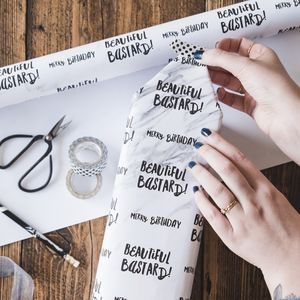 'Beautiful Bastard' Funny Birthday Wrapping Paper