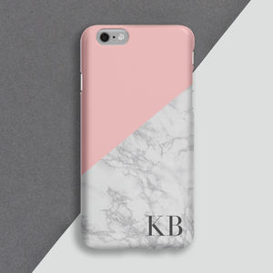 Personalised Rose Marble Mobile Phone Case - womens