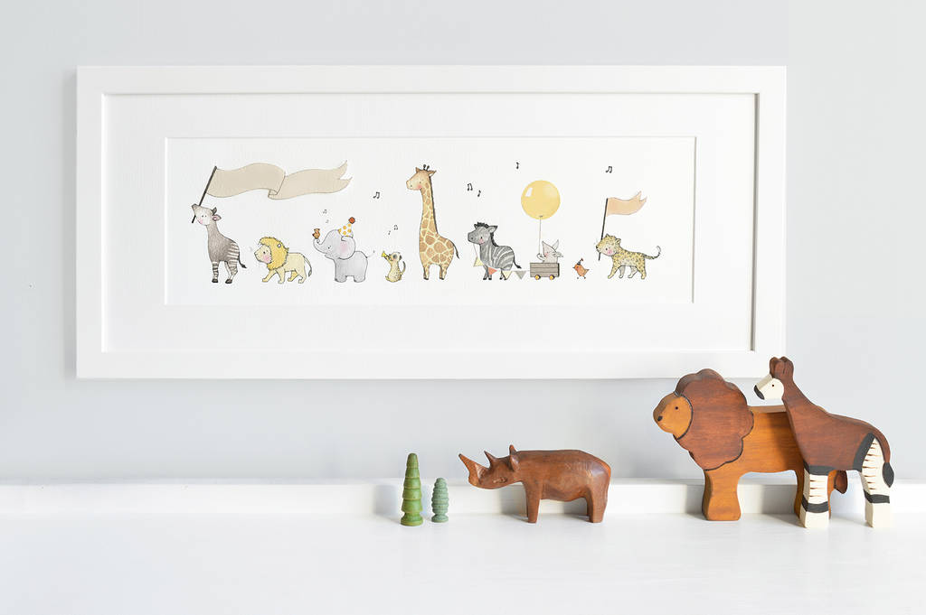 framed safari parade nursery print by daisy & bump nursery art ...