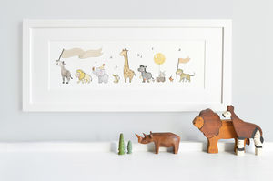 Framed Safari Parade Nursery Print