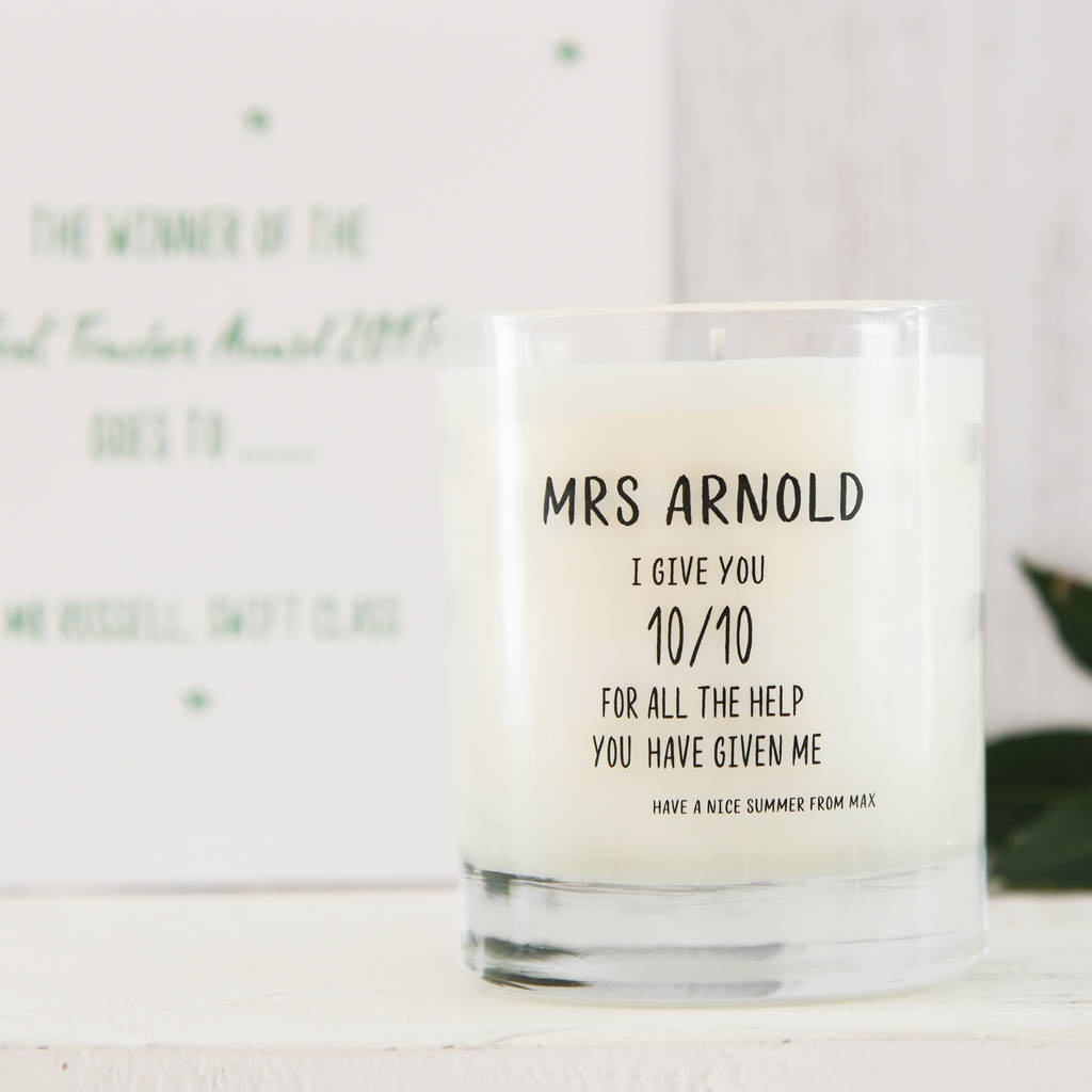Personalised Teacher Gift Scented Candle