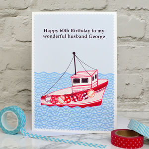 'Fishing Boat' Personalised Birthday Card