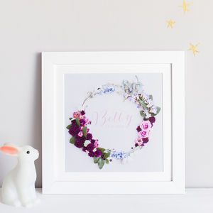 Personalised Name And Date Floral Wreath Print - gifts for her