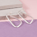 Silver Abstract Hoop Studs
