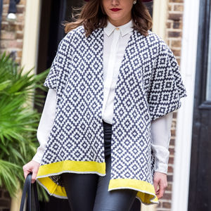 Monochrome Geometric Knitted Lambswool Cardigan - jumpers & cardigans