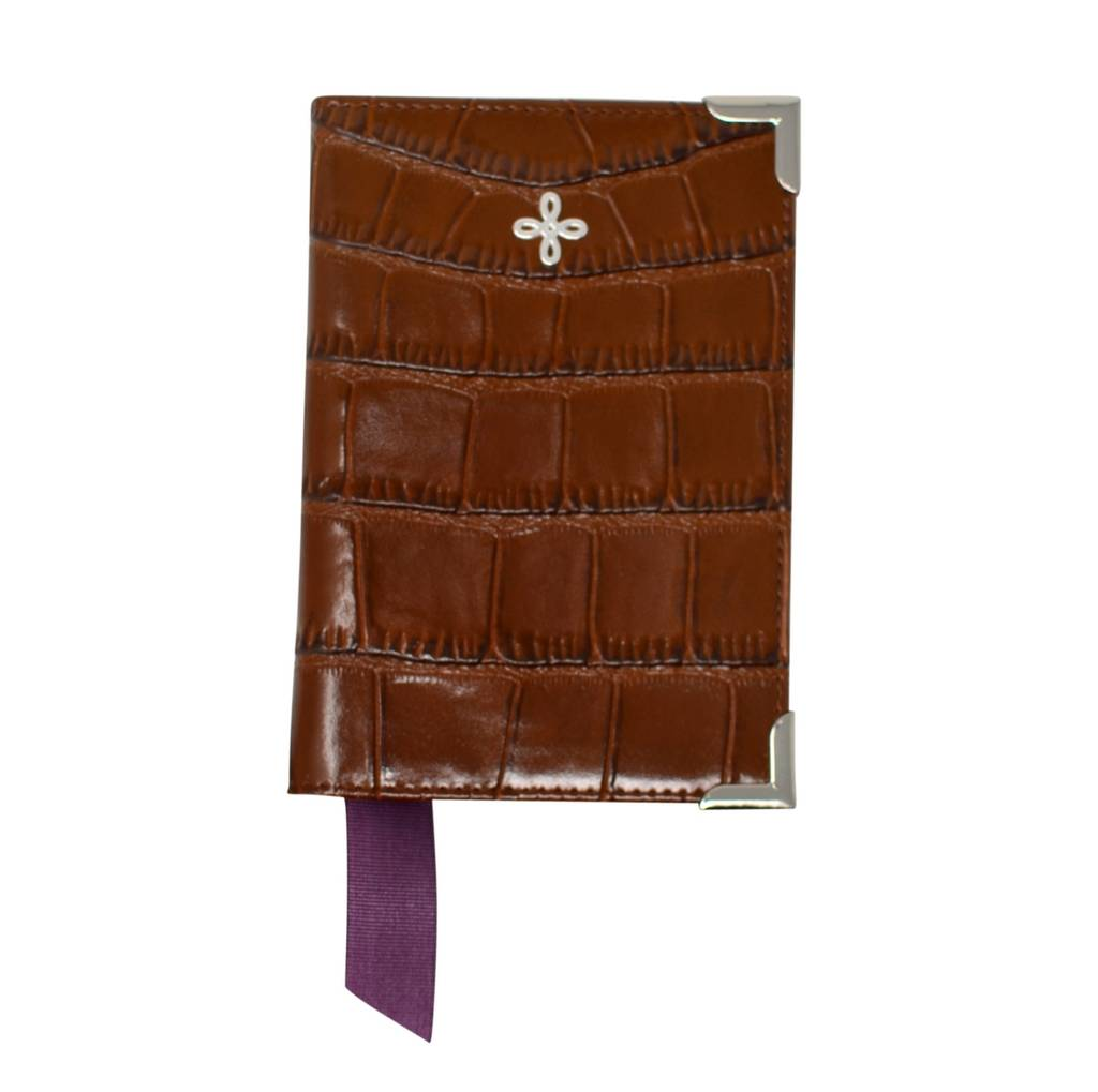 Black/ Brown Crocodile Embossed Leather Passport Holder