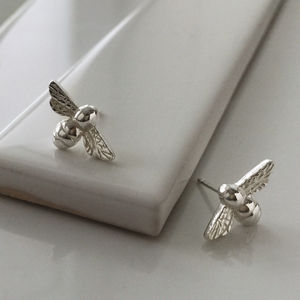 Bee Stud Earrings In Sterling Silver - earrings