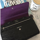 Black Croc Embossed Travel Wallet Organiser