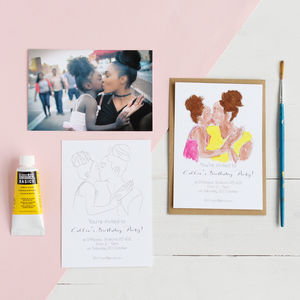 Personalised Colour In Portrait Party Invite Postcards