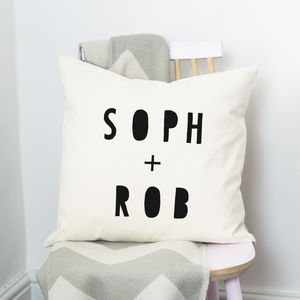 Personalised Couple Cushion - 2nd anniversary: cotton