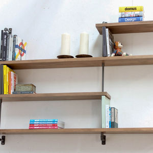 Barnaby Bespoke Beech Shelves With Threaded Steel Pipe - new in home