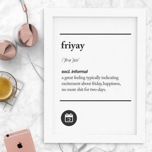 'Friyay' Typography Print - winter sale