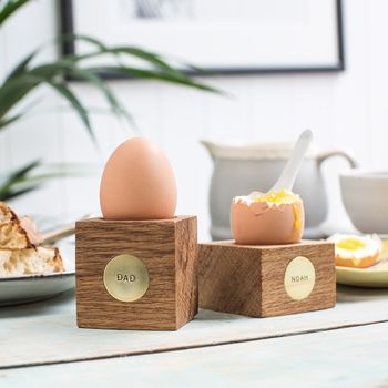 Personalised Oak And Brass Egg Cup