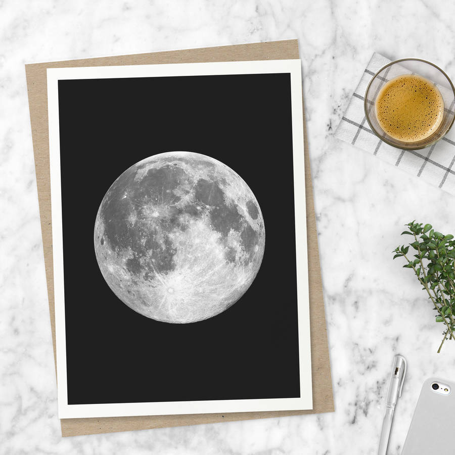 Full Moon Print In Black And White