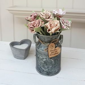 Handmade Cotton Flowers In Vintage Churn And Tag
