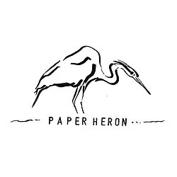 Black ink drawing paper heron stamped text