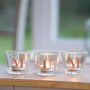Letter Glass Votive Holders - outdoor decorations