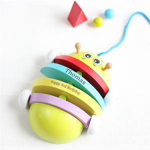 Personalised Pull Along Caterpillar - wooden toys