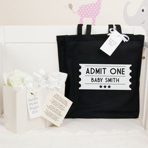Personalised Ticket Hospital Bag And First Night Kit