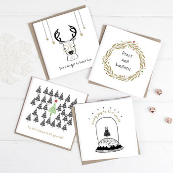 Happy Scandi Christmas Cards Pack Of Eight