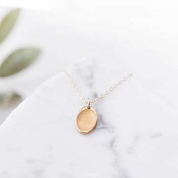 Personalised Tiny Yellow Gold Fingerprint Necklace