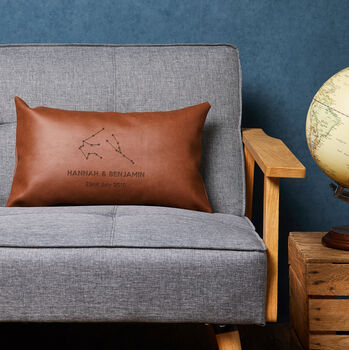Personalised Couple Constellation Vegan Leather Cushion
