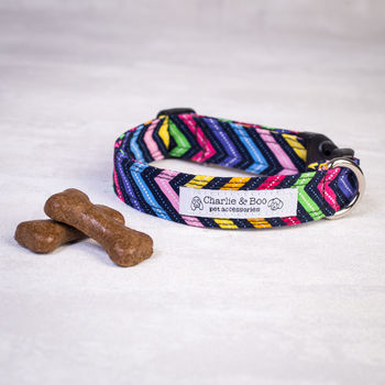 Multi Colour Zig Zag Dog Collar For Boy Or Girl Dogs