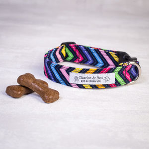 Multi Colour Zig Zag Dog Collar For Boy Or Girl Dogs - dog collars