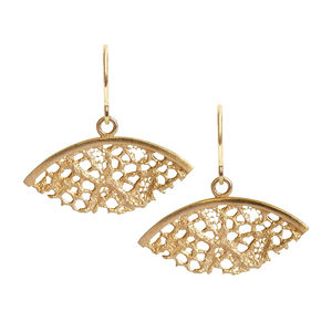 Lacey Fan Shaped Gold Plated Earrings - earrings