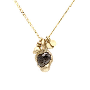 Rough Diamond Charm Pendant In Yellow Gold