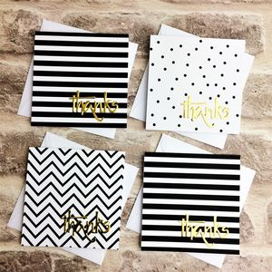 Black, White And Gold Mini Thank You Cards, Set Of Six - thank you cards