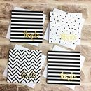 Black, White And Gold Mini Thank You Cards, Set Of Six