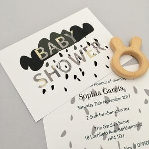 Mono Cloud Baby Shower Invitation