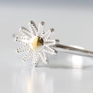 Sterling Silver Woven Daisy Ring - women's jewellery