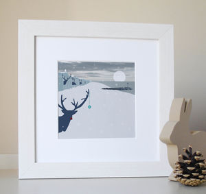 Christmas Reindeer Beach Illustration