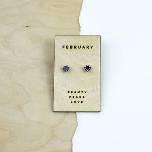Birthstone Characteristics Heart Stud Earrings - wedding jewellery