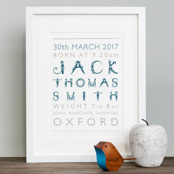 Personalised Boy's Birth Print In Mount